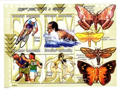 MADAGASCAR, OLYMPIC 2000. CYCLING BOXING FENCING SWIMMING BUTTERFLIES...SHEET**