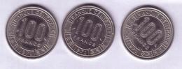 Lot N° 21- Lot De 3 Pièces De La République Centrafricaine De 100 Francs - Repubblica Centroafricana