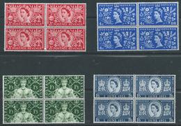 GB Coronation 1953 4v Set In Blocks Of Four Cat £64 Mint Hinged - 1952-.... (Elizabeth II)