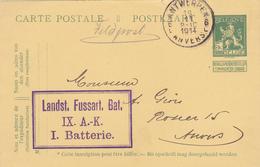 Poste Militaite, Entier Belgique, Anvers 1914.