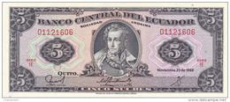 Equateur - Billet De 5 Sucres - 22 Novembre 1988 - Antonio José De Sucre - Neuf - Equateur