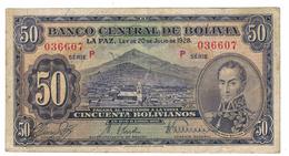 Bolivia 50 Bolivianos, 1928, F, Series P,  FREE SHIP. To U.S.A. - Bolivia