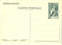 1936 - ENTIER CARTE POSTALE MÉMORIAL CANADIEN DE VIMY 26-7-36  CP 50 C. Vert YT 7 N° 1