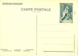 1936 - ENTIER CARTE POSTALE MÉMORIAL CANADIEN DE VIMY 26-7-36  CP 50 C. Vert YT 7 N° 2