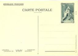 1936 - ENTIER CARTE POSTALE MÉMORIAL CANADIEN DE VIMY 26-7-36  CP 50 C. Vert YT 7 N° 4