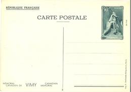 1936 - ENTIER CARTE POSTALE MÉMORIAL CANADIEN DE VIMY 26-7-36  CP 50 C. Vert YT 7 N° 5