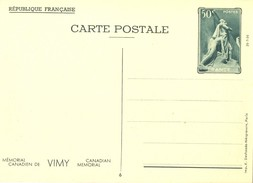 1936 - ENTIER CARTE POSTALE MÉMORIAL CANADIEN DE VIMY 26-7-36  CP 50 C. Vert YT 7 N° 6
