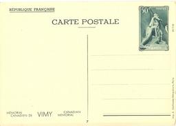 1936 - ENTIER CARTE POSTALE MÉMORIAL CANADIEN DE VIMY 26-7-36  CP 50 C. Vert YT 7 N° 7