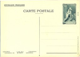 1936 - ENTIER CARTE POSTALE MÉMORIAL CANADIEN DE VIMY 26-7-36  CP 50 C. Vert YT 7 N° 8