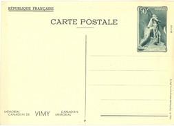 1936 - ENTIER CARTE POSTALE MÉMORIAL CANADIEN DE VIMY 26-7-36  CP 50 C. Vert YT 7 N° 9