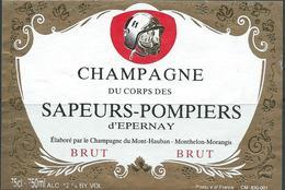 Etiquette CHAMPAGNE Thème Sapeurs Pompiers - Champagne