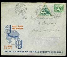 BRIEFOMSLAG Uit 1937 GELOPEN VAN AMSTERDAM Naar BANDOENG NEDERLANDS-INDIE En RETOUR Naar AMSTERDAM  (10.631s) - Luchtpost