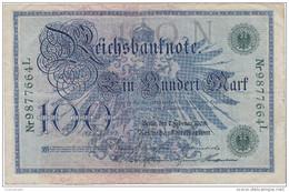 Allemagne - Billet De 100 Mark - 7 Février 1908 - Sceau Vert - [ 2] 1871-1918 : Imperio Alemán