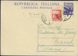 STORIA POSTALE REPUBBLICA - ANNULLO FRAZIONARIO BISENTI (TE) 62-11 SU INTERO POSTALE - 6. 1946-.. Repubblica
