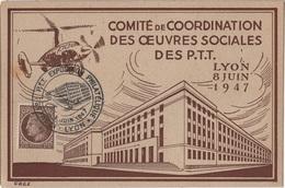 CM 45 - FRANCE Carte Maximum Comité De Coordination Des Oeuvres Sociales Des PTT Lyon 1947 - 1940-49