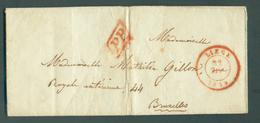 LAC De LIEGE Le 22 Février 1849 En Port Payé (griffe PP) Vers Bruxelles (vacation 5) - 11883 Beau Contenu Avec Musique - 1830-1849 (Belgio Indipendente)