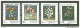 Czechoslovakia 1976 Paintings Art Painting Flowers Flower Vase Flora Stamps MNH SC 2090-2093