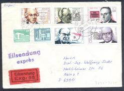 Germany Deutschland DDR 1989 Expres Eilsendung Cover; Famous People Beckmann Scharrer Renn Ossietzky Mauersberger - Celebrità