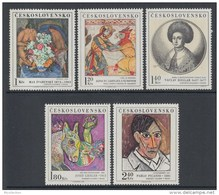 Czechoslovakia 1972 Paintings Art Painting Nude Pablo Picasso Anonymus Artist Stamps MNH SC 1847-1851 Michel 2105-2109