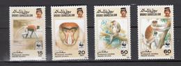 Brunei 1991,4V,WWF,Proboscis Monkey,apen,affen,singes,monos,scimmias,MNH/Postfris(A3312) - Apen