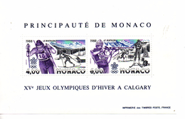 Monaco. Bloc No 40. Jeux Olympiques D'hiver à Calgary.1988. N**