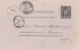 17673# SAGE CARTE ENTIER POSTAL Obl REMIREMONT 82 R.EP. 1878 CONVOYEUR STATION EPINAL VOSGES Pour GERARDMER