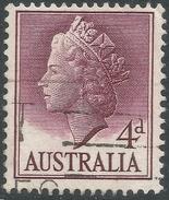 Australia. 1955-7 QEII Definitives. 4d Used. SG 282a - 1952-65 Elizabeth II : Pre-Decimals