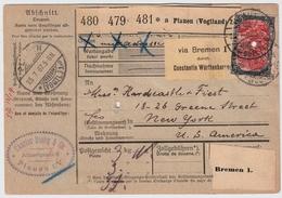 DR, 1907, Paketkarte Nach USA, Mi. 600.-, Atttest , #8245