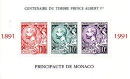 Monaco. Bloc No 53.centenaire Du Timbre Prince Albert 1er.1991.n**