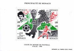 Monaco. Bloc No 50.coupe Du Monde De Football.italie.1990.n**