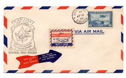 Carta  De1942 Canada Primer Vuelo Montreal-trois-rivieres.