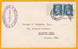 1932 - Enveloppe Vers Motspur Park, Angleterre, GB - Paquebot Lafayette - Paire Pasteur 75 C - C G Transatlantique - Marcophilie (Lettres)