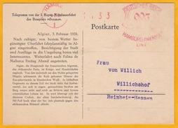 1928 - Télégramme CP D'Alger, Algérie, Colonie France Vers Willichshof, Allemagne - EMA Hamburg Amerika Linie