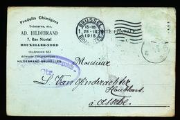 BRUXELLES NORD 1915 - AD.HILDEBRAND NAAR ASSE VAN GINDERACHTER MET DUITSE CONTROLE STEMPEL - 2 AFBEELDINGEN