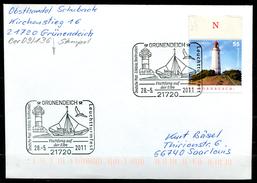 """Germany 2011 Sonderbeleg""""Leuchtturm""""mit Mi.Nr.2743 U.SST""""Grünendeich-Leuchtturmfes,Fischfang Auf Der Elbe """"1 Beleg"""