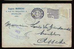 BRUXELLES 1915 - EUGENE MARSEAU NAAR ASSE VAN GINDERACHTER MET DUITSE CONTROLE STEMPEL - 2 AFBEELDINGEN