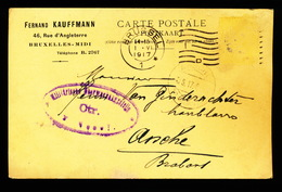 BRUXELLES MIDI 1917 - F.KAUFFMANN NAAR ASSE VAN GINDERACHTER MET DUITSE CONTROLE STEMPEL - 2 AFBEELDINGEN