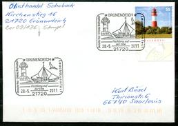 """Germany 2011 Sonderbeleg""""Leuchtturm""""mit Mi.Nr.2801 U.SST""""Grünendeich-Leuchtturmfes,Fischfang Auf Der Elbe """"1 Beleg"""