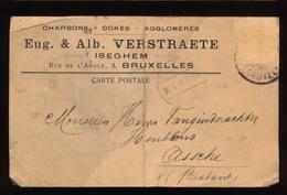 ISEGEM  1917 - EUG & ALB. VERSTRAETE  NAAR ASSE VAN GINDERACHTER MET DUITSE CONTROLE STEMPEL - 2 AFBEELDINGEN