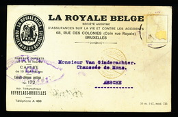 BRUXELLES 1917 - LA ROYALE BELGE   NAAR ASSE VAN GINDERACHTER MET DUITSE CONTROLE STEMPEL - 2 AFBEELDINGEN