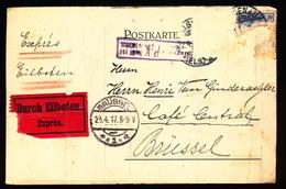 HAGENAU EXPRES 1917 - M.SCHOTT    NAAR ASSE VAN GINDERACHTER MET DUITSE CONTROLE STEMPEL - 2 AFBEELDINGEN