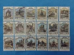 LOTTO ITALIA REPUBBLICA FRANCOBOLLI DIFFERENTI USATI STAMPS USED SERIE FONTANE 18 VALORI - Lotti E Collezioni