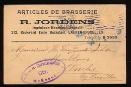 LAEKEN 1916 - R.JORDENS ARTICLES DE BRASSERIE    NAAR ASSE VAN GINDERACHTER MET DUITSE CONTROLE STEMPEL - 2 AFBEELDINGEN