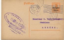BRUXELLES CH.GARRIEL 1917  NAAR ASSE VAN GINDERACHTER MET DUITSE CONTROLE STEMPEL - 2 AFBEELDINGEN
