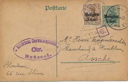 BLONDEAU  1916  NAAR ASSE VAN GINDERACHTER MET DUITSE CONTROLE STEMPEL - 2 AFBEELDINGEN