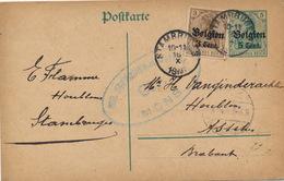 STAMBRUGES  1916  NAAR ASSE VAN GINDERACHTER MET DUITSE CONTROLE STEMPEL - 2 AFBEELDINGEN