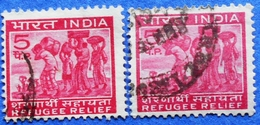 INDIA 2 X 5 P 1971 REFUGEE RELIEF (DIFFERENT COLORS) - USED