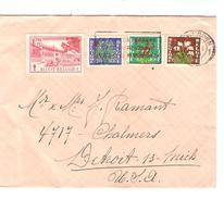 TP 834-835-836-838 Surtaxe S/L.c.méc.Antwerpen En 1951 V.Detroit USA + Vignette  AP1031 - Lettres & Documents