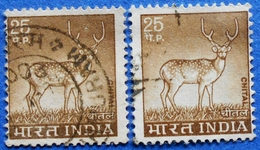 INDIA 2 X 25 P 1974 DEER CHITAL (DIFFERENT COLORS) - USED