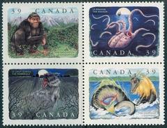 CANADA 1990 Legendary Creatures Set (Se-tenant Block Of 4v), XF MNH, MiNr 1197-200, SG 1400a